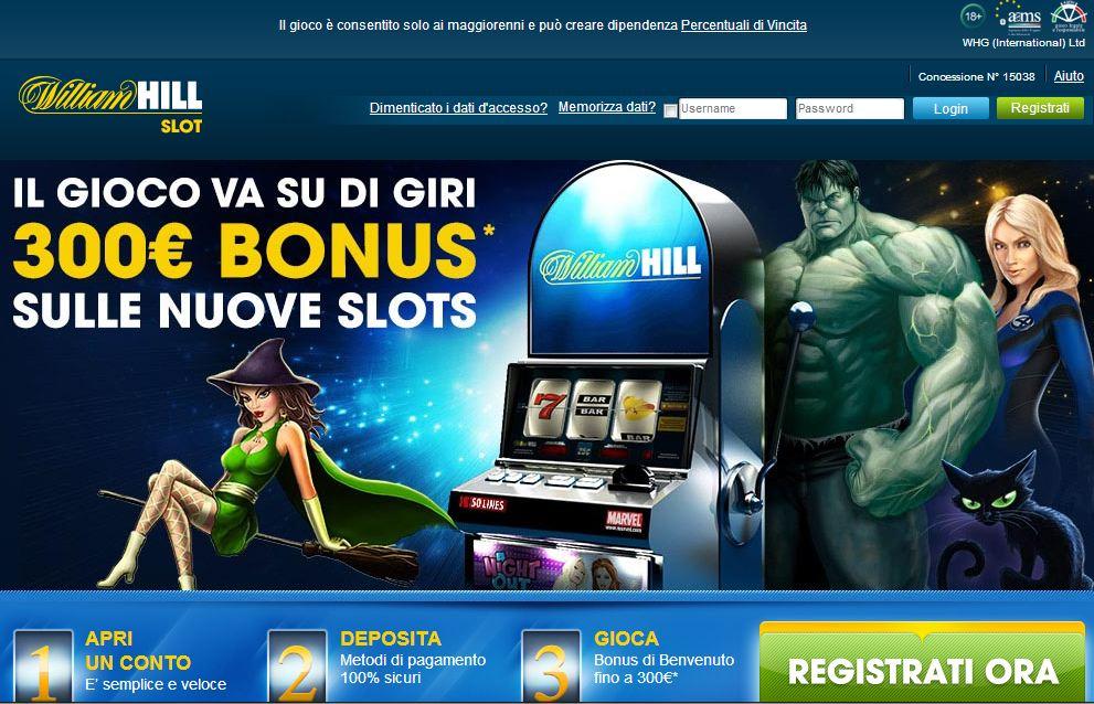 Slot Machine William Hill: gioca con 300€ di bonus